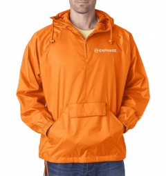 UltraClub adult 1/4-zip hooded pullover pack-away jacket